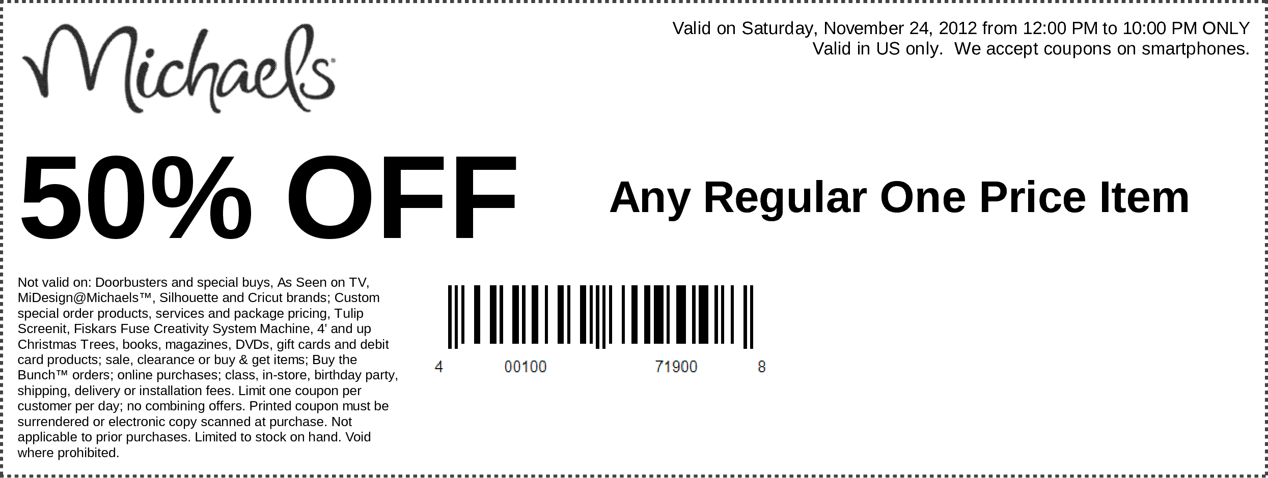 50% Off Any One Regular Price Item Use Michaels Coupon