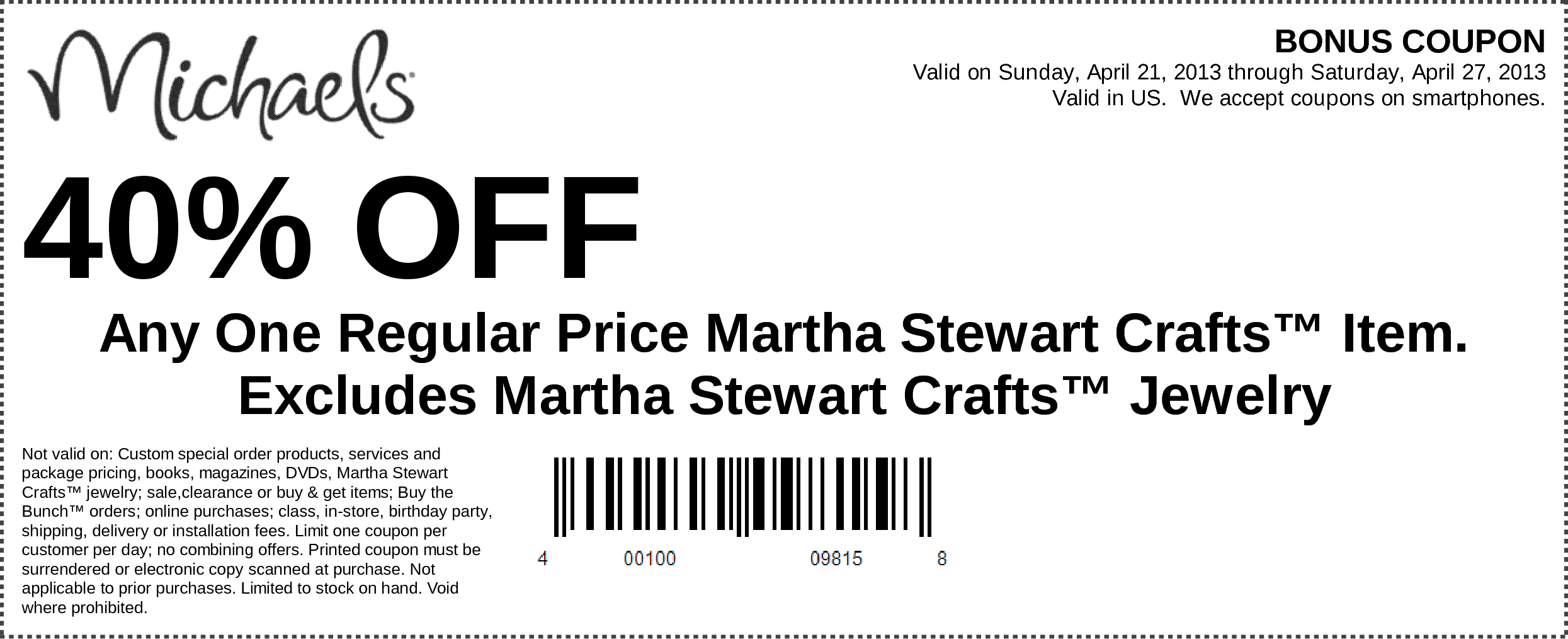 Any One Regular Price Martha Stewart Crafts™ Item. Excludes Martha Stewart Crafts™ Jewelry