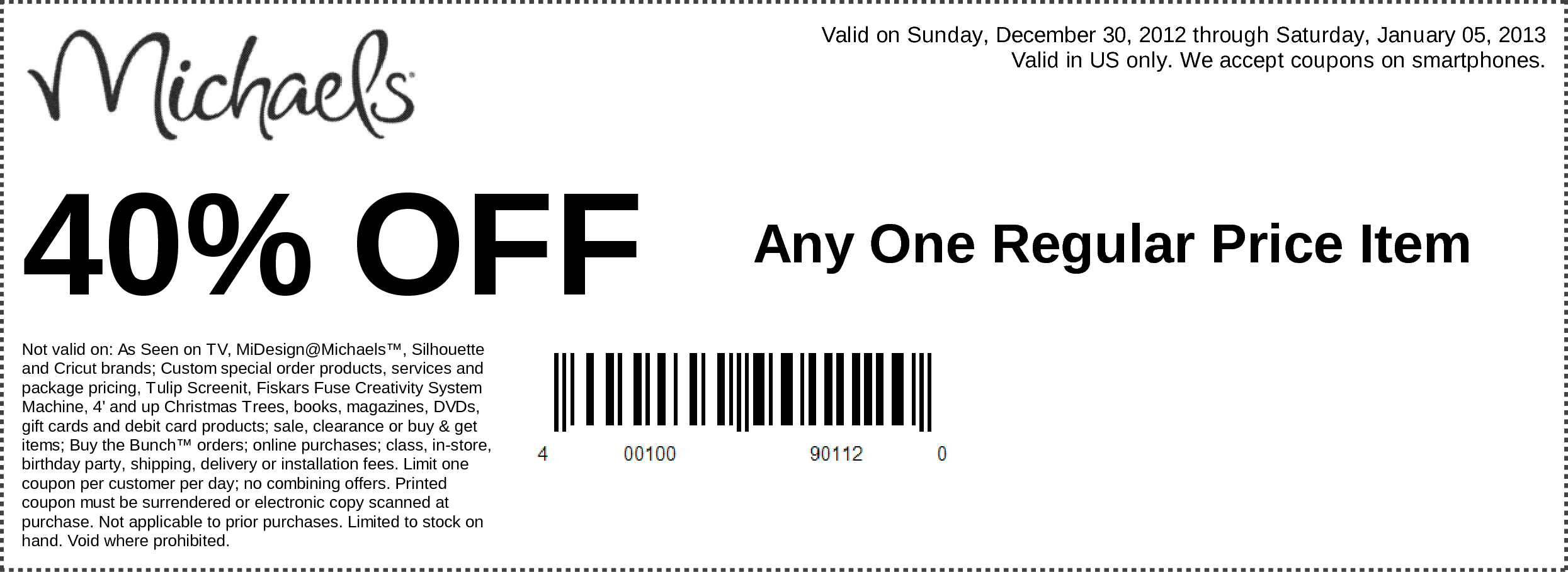 Michaels Coupon – 40% Off 1 Regularly Priced Item (exp: 1/5/2013)