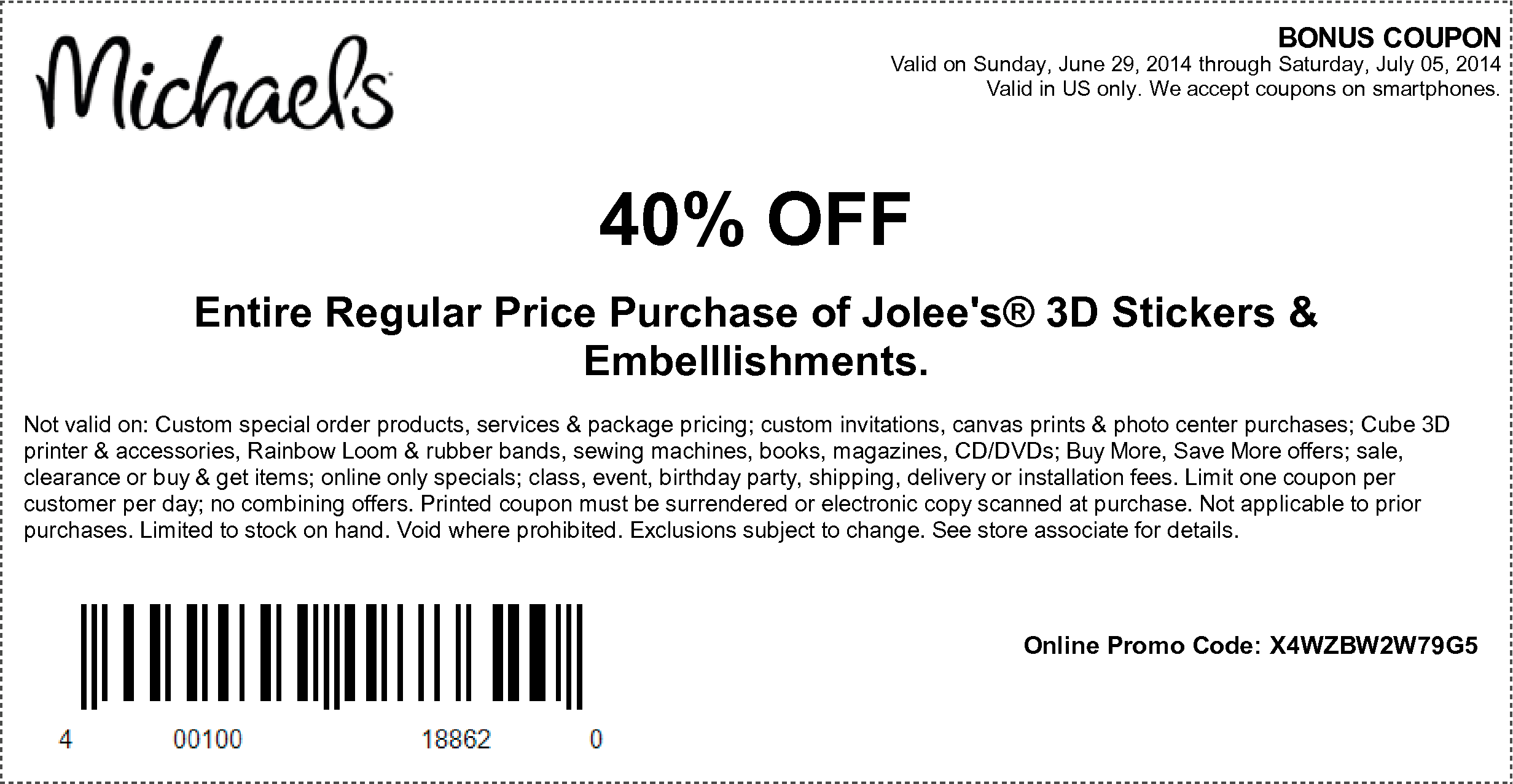 Hobby lobby coupon 40 off entire purchase - 7 5