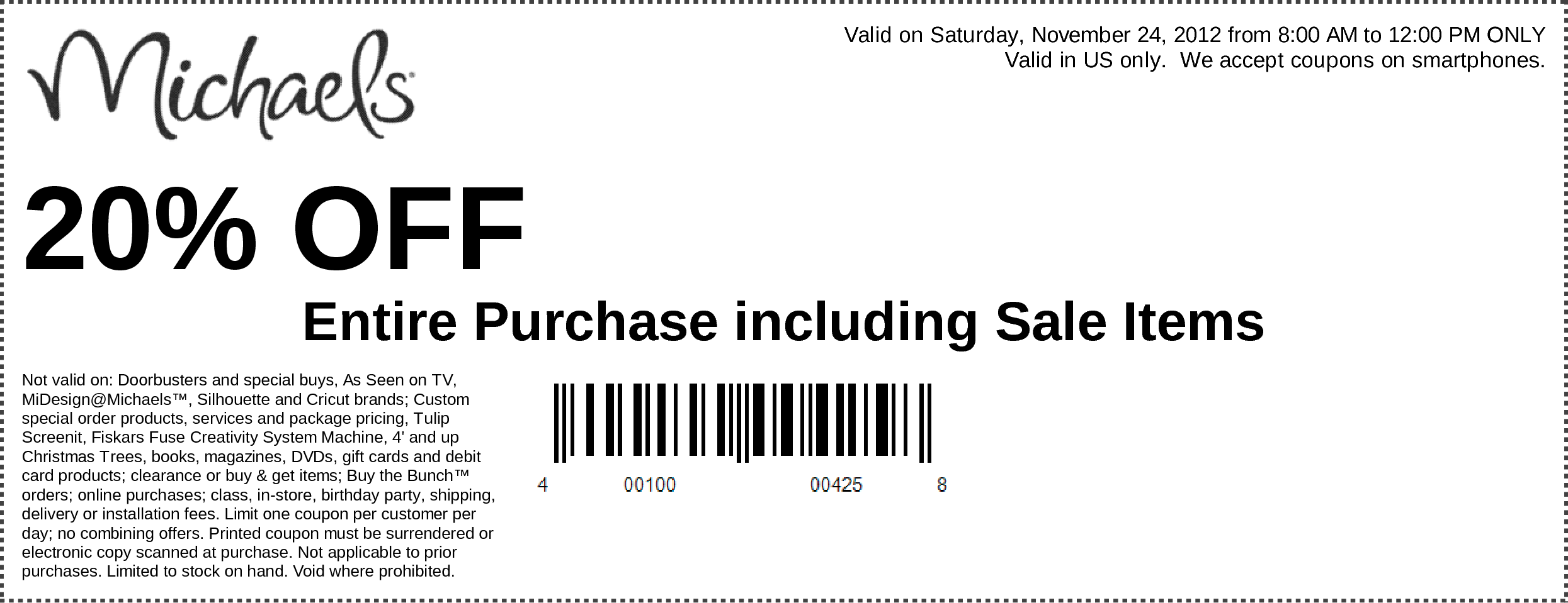 20% Off Entire Purchase Use Michaels Coupon