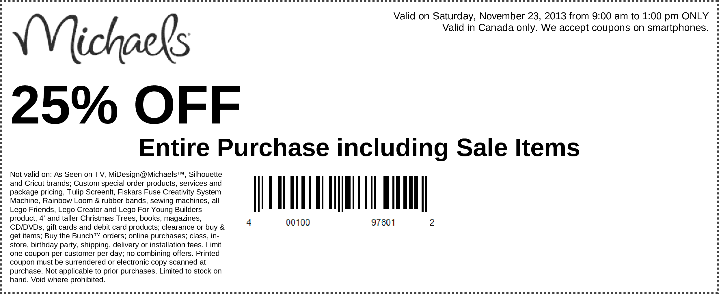 Click Here For Michaels 25 Off Entire Purchase Canada Coupon